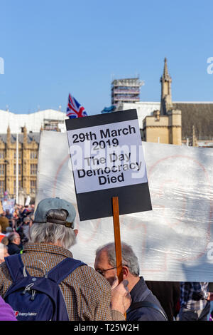 Westminster, London, UK; 29th March 2019; Rear View of Pro-Brexit Demonstrator in Parliament Square During the March to Leave Rally Holding Placard - Stock Photo