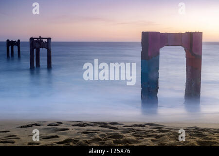 Davenport Old Pier Sunset with Long Exposure. - Stock Photo