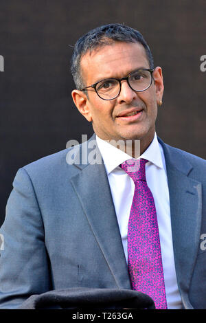 Anand Menon - Professor of European Politics and Foreign Affairs at King's College London - after being interviewed on College Green, Westminster, Lon - Stock Photo