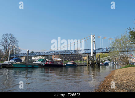 teddington bridge, or teddington lock footbridge, linking ham and teddington across the river thames in southwest london, england - Stock Photo