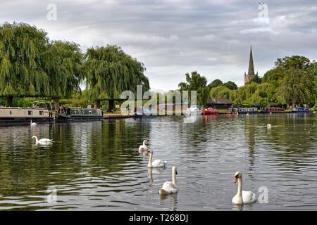 View of the River Avon in Stratford-upon-Avon, Warwickshire, England, UK - Stock Photo