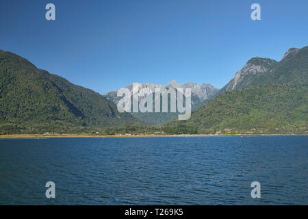 Sailing through the fjords near Hornopiren via the bi-modal ferry, Carretera Austral, Patagonia, Chile - Stock Photo