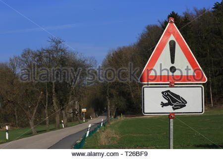 A triangular red sign warns drivers of the hazard of frogs crossing the road in spring - Stock Photo