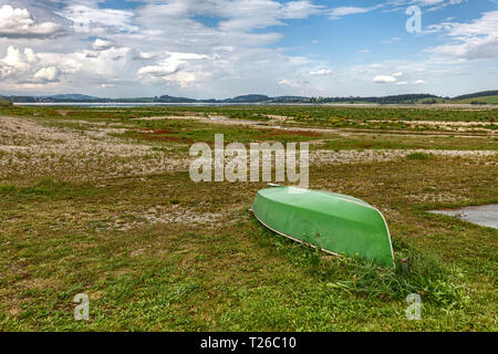 Forggensee Lake near Füssen in Bavaria during the drought in summer 2018 - Stock Photo