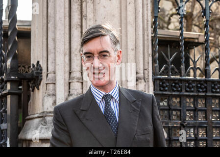 Conservative MP Jacob Rees-Mogg arriving at the Palace of Westminster, London, UK. 29th March 2019, the date that should have seen the UK leave the EU - Stock Photo