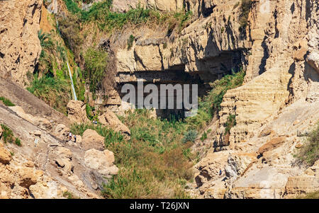 the david falls in nahal david from the road to the ein gedi field school near the dead sea in israel - Stock Photo