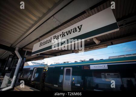 Bristol, United Kingdom, 21st February 2019, platform signage for Bristol Parkway Station - Stock Photo
