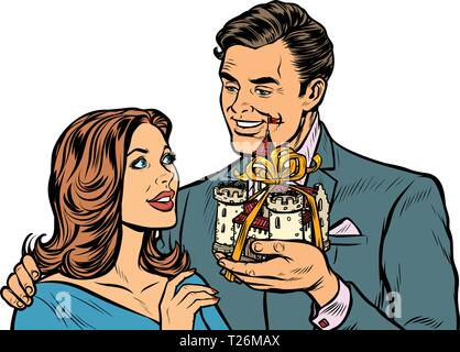 Businessman and businesswoman, medieval castle property for sale. Pop art retro vector illustration drawing kitsch vintage - Stock Photo