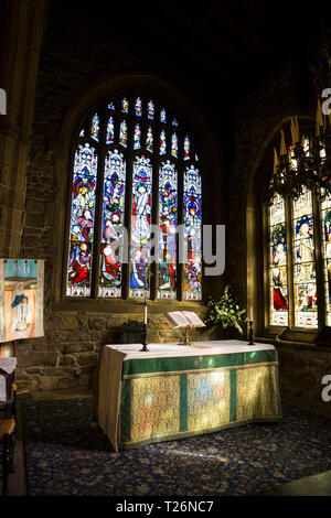The Holdsworth Chapel with its stained glass windows dedicated to John Holdsworth, in Halifax Minster. West Yorkshire. UK. (106) - Stock Photo