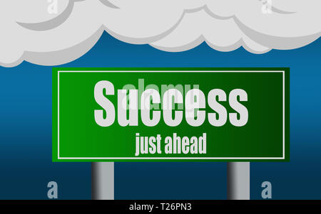 Exit highway street sign symbol with success word, 3D rendering - Stock Photo