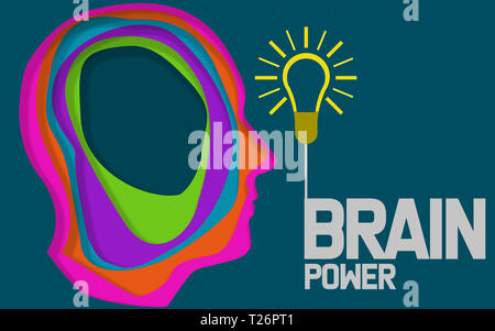 Brain power, human head with light bulb, 3D rendering - Stock Photo