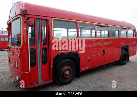 London, UK, 30th March, 2019. London bus museum is running old buses in Barking, and passengers can board them for free. Credit: Yanice Idir / Alamy Live News - Stock Photo