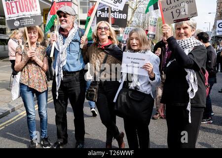 London, United Kingdom. 30th March 2019. Rally for Palestine in London United Kingdom, 30th March 2019 Credit: Rokas Juozapavicius/Alamy Live News - Stock Photo