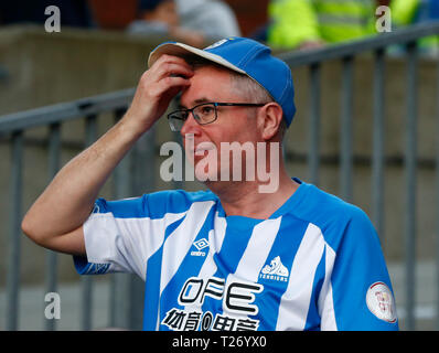 London, UK. March 2019.  Huddersfield Town fAN during English Premier League between Crystal Palace and Huddersfield Town at Selhurst Park stadium , London, UK on 30 Mar 2019. Credit Action Foto Sport  FA Premier League and Football League images are subject to DataCo Licence. Editorial use ONLY. No print sales. No personal use sales. NO UNPAID USE - Stock Photo