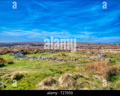 Barbrook, Derbyshire, UK. 30th March, 2019. UK Weather: Bright blue sky on a warm sunny day at Barbrook 2, stone circle altered incorporating a wall in the Peak District. HDR landscape photography. Credit: Doug Blane/Alamy Live News - Stock Photo