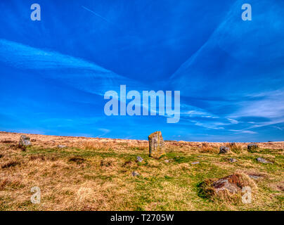 Barbrook, Derbyshire, UK. 30th March, 2019. UK Weather: Bright blue sky on a warm sunny day at Barbrook 1, one of the best preserved stone circle in the Peak District. HDR landscape photography. - Stock Photo