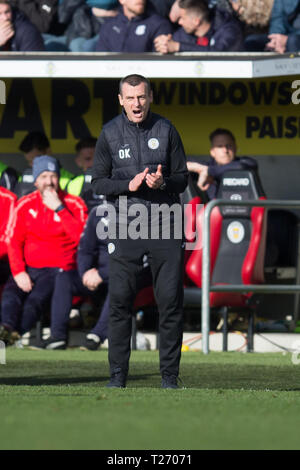 The Simple Digital Arena, Paisley, Scotland, UK. 30th March 2019, Ladbrokes Premiership football, St Mirren versus Dundee; St Mirren manager Oran Kearney - Stock Photo