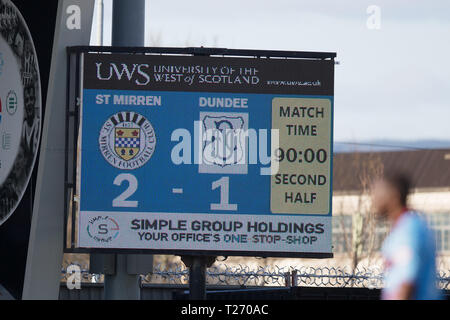 The Simple Digital Arena, Paisley, Scotland, UK. 30th March 2019, Ladbrokes Premiership football, St Mirren versus Dundee; Scoreboard shows the final score - Stock Photo