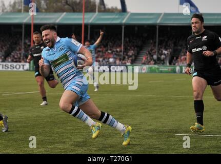 Allianz Park, London, UK. 30th March 2019. . Saracens v Glasgow Warriors. Quarter-final. Heineken Champions Cup. Allianz Park. London. UK. 30/03/2019. Credit: Sport In Pictures/Alamy Live News - Stock Photo
