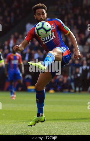 London, UK. 30th March 2019. Andros Townsend of Crystal Palace in action. Premier League match, Crystal Palace v Huddersfield Town at Selhurst Park in London on Saturday 30th March 2019.  this image may only be used for Editorial purposes. Editorial use only, license required for commercial use. No use in betting, games or a single club/league/player publications. pic by Steffan Bowen/Andrew Orchard sports photography/Alamy Live news - Stock Photo