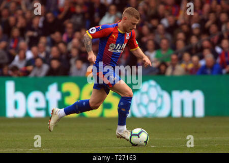 London, UK. 30th March 2019. Max Meyer of Crystal Palace in action. Premier League match, Crystal Palace v Huddersfield Town at Selhurst Park in London on Saturday 30th March 2019.  this image may only be used for Editorial purposes. Editorial use only, license required for commercial use. No use in betting, games or a single club/league/player publications. pic by Steffan Bowen/Andrew Orchard sports photography/Alamy Live news - Stock Photo