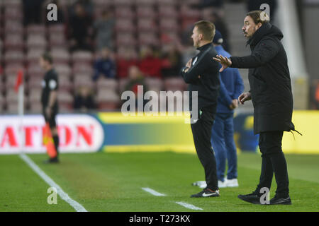 Norwich City manager Daniel Farke pictured during the Sky Bet Championship match between Middlesbrough and Norwich City at the Riverside Stadium, Middlesbrough on Saturday 30th March 2019. (Credit: Tom Collins | MI News & Sport Ltd) ©MI News & Sport Ltd Tel: +44 7752 571576 e-mail: markf@mediaimage.co.uk Address: 1 Victoria Grove, Stockton on Tees, TS19 7EL Credit: MI News & Sport /Alamy Live News - Stock Photo