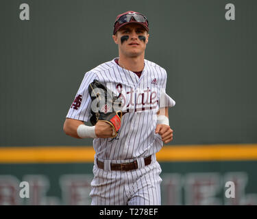 Mississippi, USA.  30th Mar, 2019. Mississippi State outfielder, Jake Mangum (15), during the NCAA baseball game between the LSU Tigers and the Mississippi State Bulldogs at Dudy Noble Field in Starkville, MS. LSU defeated Mississippi State, 11-2. Kevin Langley/Sports South Media/CSM/Alamy Live News - Stock Photo
