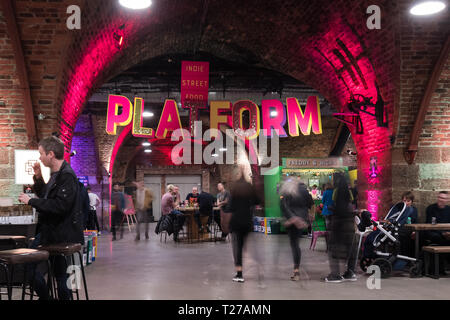 Platform at Argyle Street Arches, Glasgow, Scotland, UK - Stock Photo