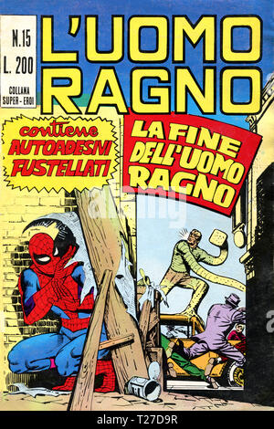 Italy - 1970: first edition of Marvel comic books, cover of The Amazing Spider-Man, L'Uomo Ragno - Stock Photo