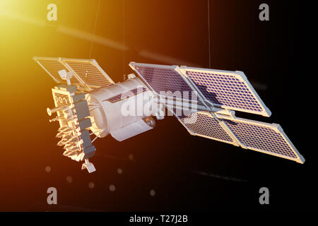Model of space satellite on dark background - Stock Photo