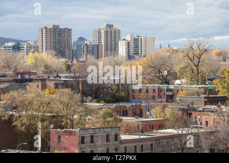 Le Plateau residential district of Montreal, Quebec, Canada, seen from above, with its typical individual houses made of red brick, North American sty - Stock Photo