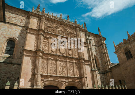 Ornaments carved in plateresque style on the Salamanca University facade at Salamanca. With medieval buildings is also an university city from Spain. - Stock Photo
