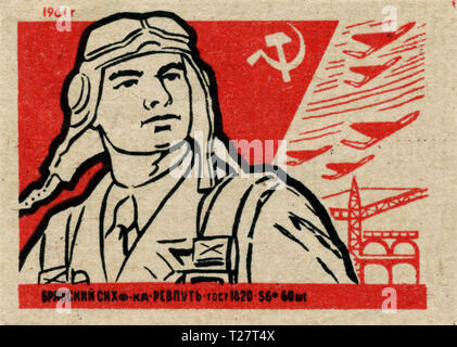 Russia - 1961: Soviet Union propaganda, matchbox graphics collection, USSR Army - Stock Photo