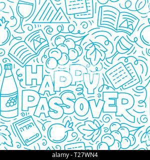 Passover seamless pattern (Jewish holiday Pesach). Hebrew text: happy Passover. Linear vector illustration doodle style. Isolated on white background. - Stock Photo