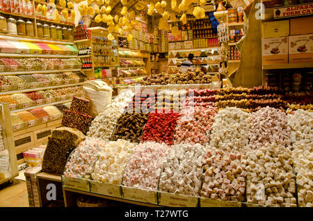 Istanbul, Turkey, March 07, 2019:inside of Egyptian Bazaar or Spice Bazaar is the oldest bazaar in Istanbul. In front of store selling Turkish delight - Stock Photo