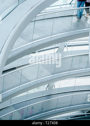 BERLIN, GERMANY - 11 AUG 2012: an Helicoidal ramp inside the Reichstag Parliament building's transparent cupola in Berlin, Germany. The newly installe - Stock Photo