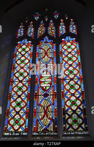 Stained glass windows in the Parish Church of St Mary The Virgin at Woodbridge, Suffolk, East Anglia, England, UK - Stock Photo