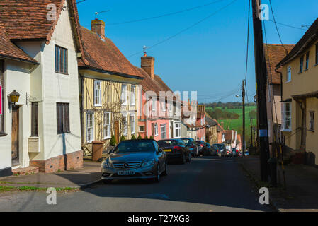 Lavenham Suffolk, view in summer of medieval houses sited in Prentice Street in the centre of Lavenham village, Babergh district, Suffolk, England, UK - Stock Photo