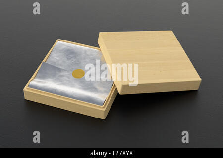 Flat open wooden square box with silver wrapping paper on black background. 3d illustration - Stock Photo