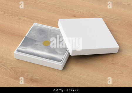 Flat open white square box with silver wrapping paper on wooden background. 3d illustration - Stock Photo