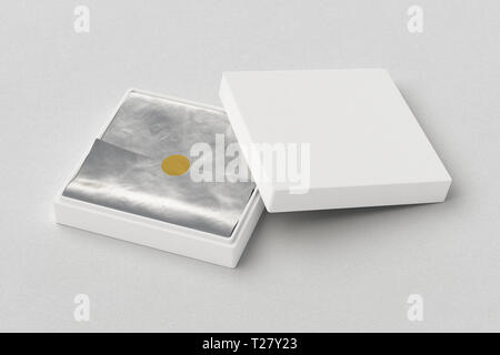 Flat open white square box with silver wrapping paper on white background. 3d illustration - Stock Photo