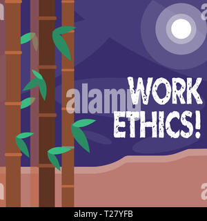 Word writing text Work Ethics. Business photo showcasing principle that hard work intrinsically virtuous worthy reward Colorful Sets of Leafy Bamboo o - Stock Photo