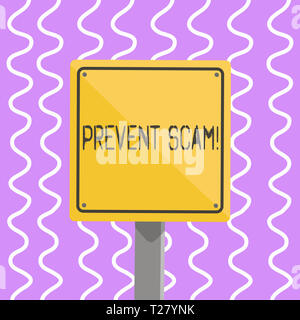 Conceptual hand writing showing Prevent Scam. Concept meaning Consumer protection fraudulent transactions 3D Square Colorful Caution Road Sign with Bl - Stock Photo