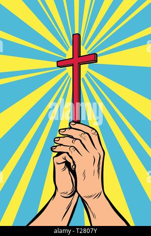 Christian cross in the light, hands of the believer - Stock Photo