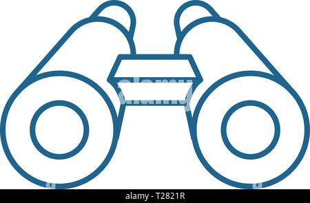 Binoculars line icon concept. Binoculars flat  vector symbol, sign, outline illustration. - Stock Photo