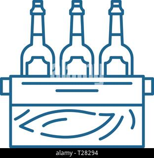 Case of beer line icon concept. Case of beer flat  vector symbol, sign, outline illustration. - Stock Photo