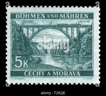 Czechoslovakian historical stamp: Bohemia and Moravia - Local Motifs, high railway arch bridge over the river near the city Bechin, 1940, Germany, DR - Stock Photo