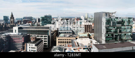 A panoramic view from a building on Charlotte St. Manchester towards Winter Hill. - Stock Photo