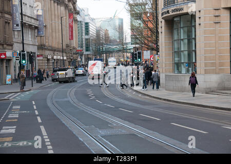 A Spring day on Cross Street in Manchester, UK - Stock Photo