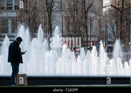 One of a selection of my images of the fountains in Piccadilly Gardens, Manchester - Stock Photo